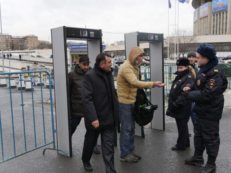 Police, militia and security forces are prominent on the streets surrounding the Cathedral Mosque in Moscow. Bags are checked and all visitors searched before entering the mosque. Image by Iris Oppelaar.