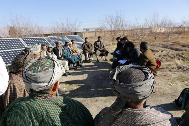 The Afghan Jirga and Shura, the Community Development Councils, assemble in a village to lead an informal justice based on the Sharia Law, including issues relating to violence against women. Image by Ritu Mahendru.