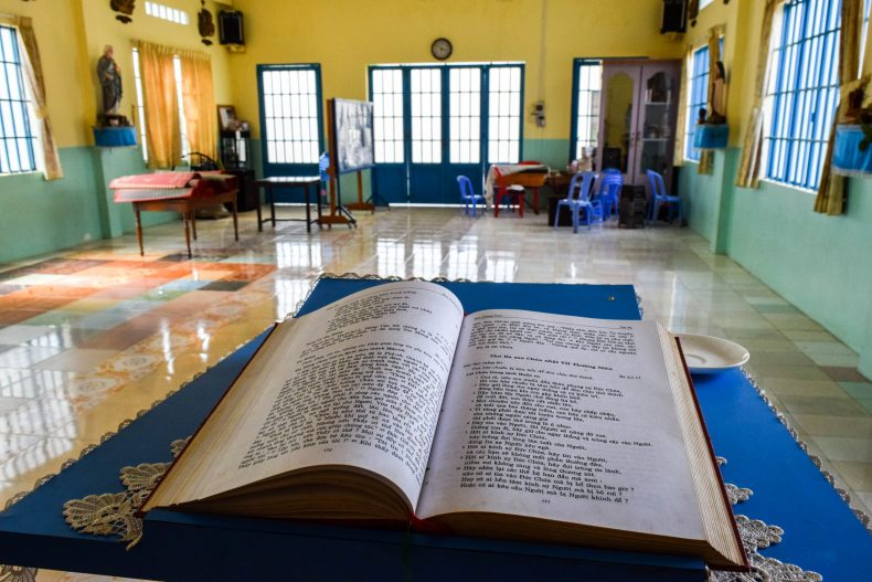 Church services take place each Sunday at 8am, and feature about 130 families from the village and surrounds. Everything takes place in Vietnamese. Image by Peter Ford.