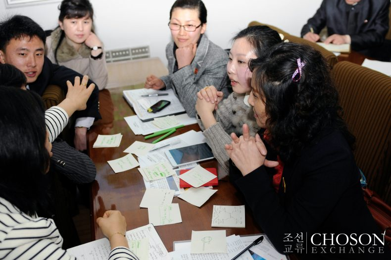 Discussing business plans in fall 2013. Photo by Choson Exchange.