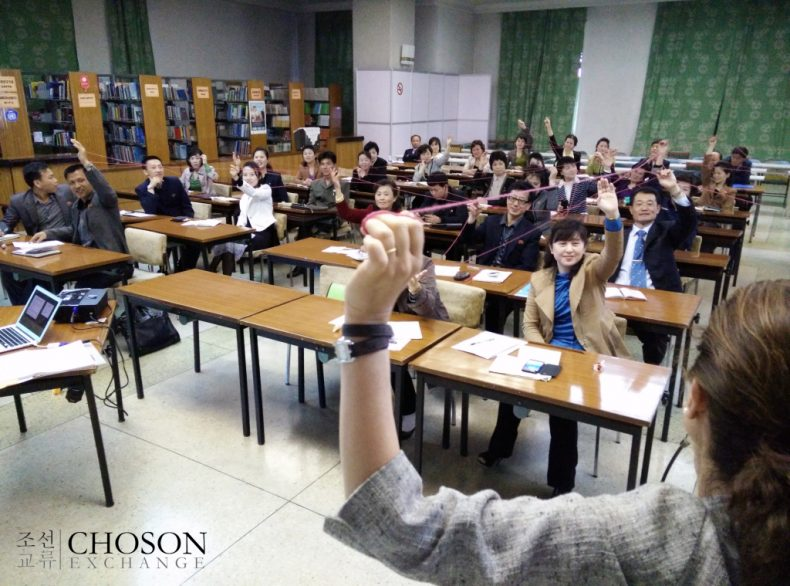 Teaching networking in spring 2015. Photo by Choson Exchange.