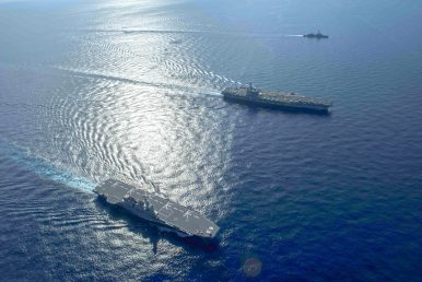 South China Sea: Japan's Izumo Helicopter Carrier Conducts Drill With US Navy Carrier