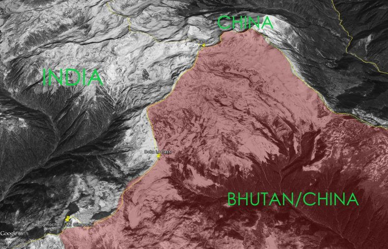 The Area Shaded In Red Is Disputed Between Bhutan And China Source Google Maps