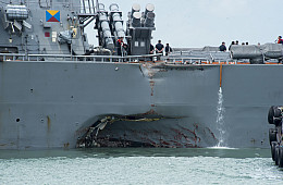 USS <i>John S. McCain</i> Collides With Merchant Vessel Near Singapore, 10 Sailors Missing