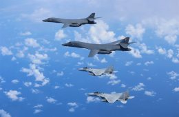 US B-1B Bombers and Japanese Fighters Stage Exercises in the East China Sea