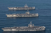 3 US Carrier Strike Groups Hold Massive Naval Drill with South Korean, Japanese Navies in Western Pacific