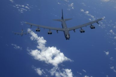 US B-52H Bombers and P-8A Sub-Hunting Aircraft Train Over East China Sea