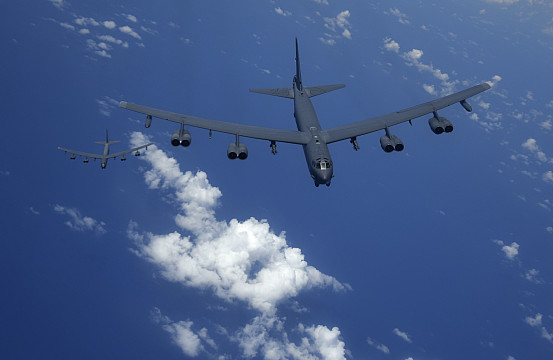 US Air Force Flies 2 B-52H Bombers Over East China Sea