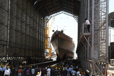 India Launches Third Project 15B Guided Missile Destroyer