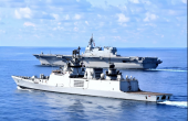 Japanese Flattop and Destroyer Conduct Joint Naval Drill With Indian Stealth Frigate