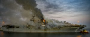 US Amphibious Assault Ship Burns in Port for Second Day